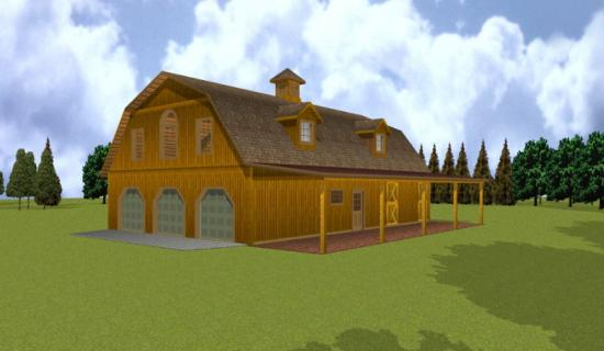 Small sheds gambrel barn plans with apartment for Gambrel pole barn plans