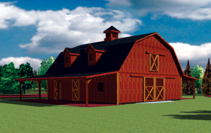 Pole barn garage apartment plans section sheds for Gambrel barn homes kits