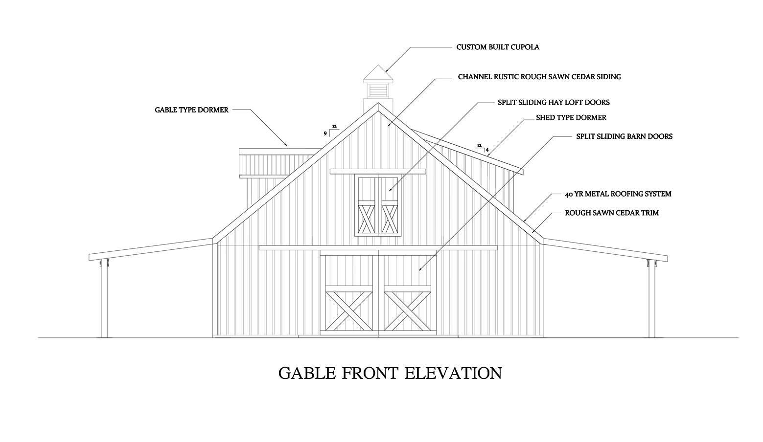Front Elevation Roof : Barns and buildings quality horse