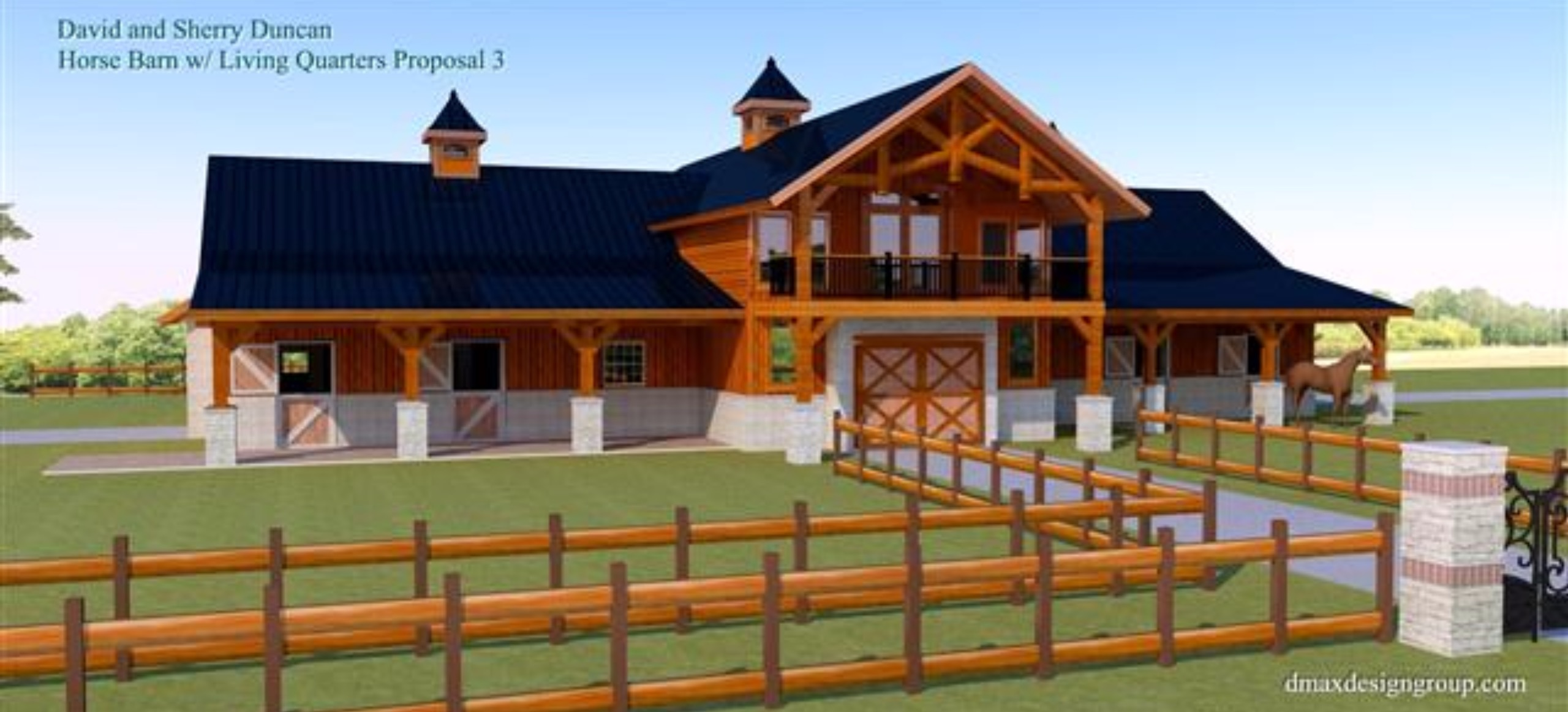 Awesome horse barn house combo plans contemporary best for Equestrian barn plans
